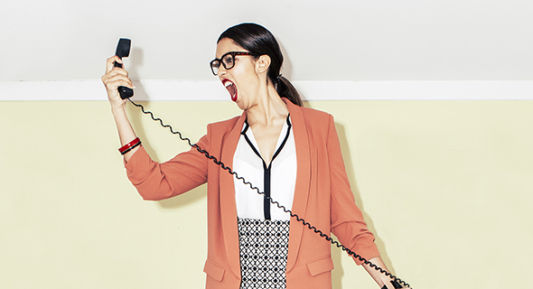 Woman yelling into a phone, Michelle Lee, RICE