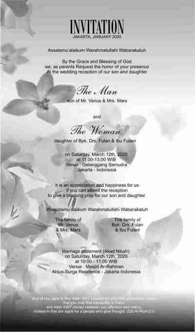 Undangan Pernikahan Islam Bahasa Inggris English Contoh Undangan