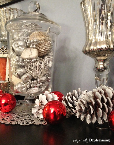 Our sparkling silver and red christmas decor perpetually