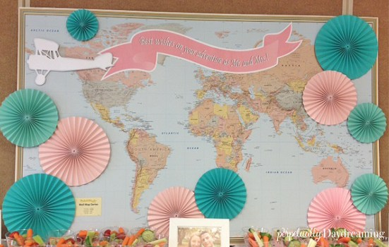 Travel Bridal Shower Map Backdrop