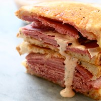 Corned Beef Sandwiches with Copycat Grouchos Sauce