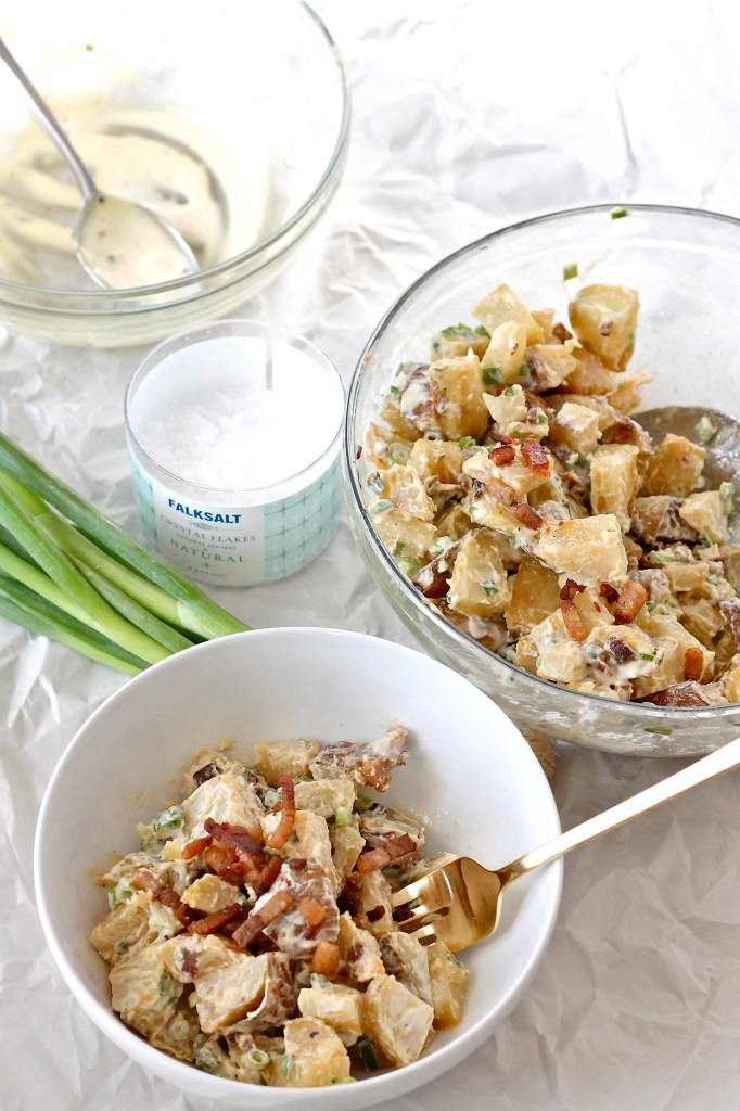 potato salad with pork belly and green onions