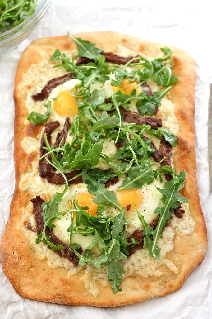steak and egg flat bread