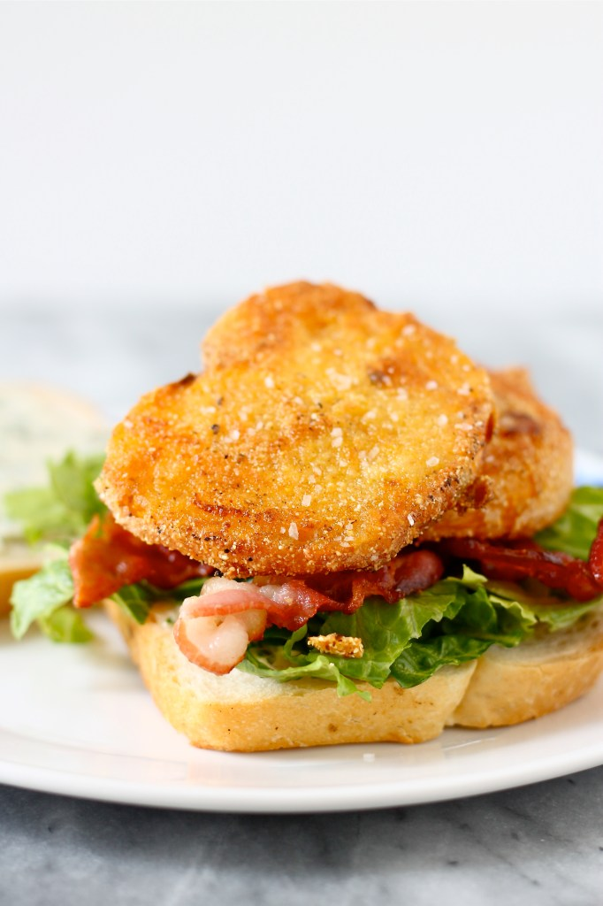 Bacon, Lettuce, and Fried Yellow Tomato Sandwiches with Basil ...