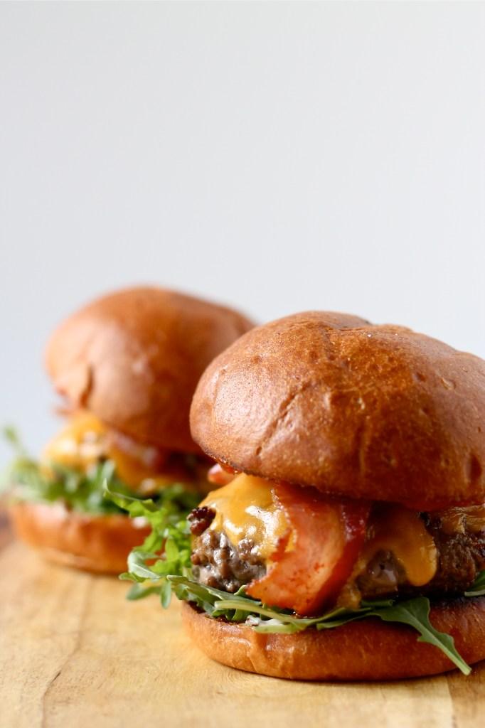 Bacon Cheeseburgers with Kimchi Ketchup