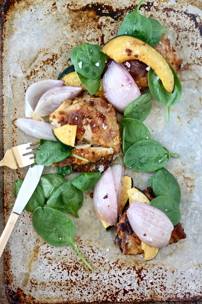 "Baked ""Fried"" Chicken with Roasted Squash, Red Onions, and Spinach"