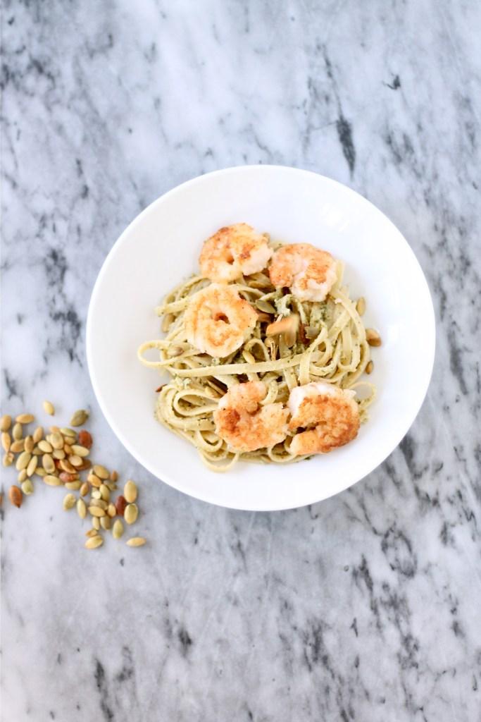 Pumpkin Pesto Pasta with Crispy Shrimp