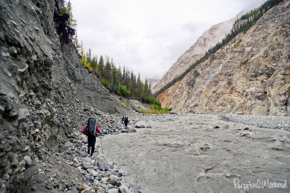 loose river bank, trundle, river rock, goat creek, alaska, backpack, hike