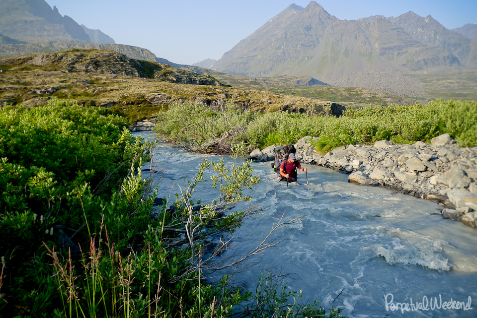 Stream Crossing in Wrangell St Elias National Park Alaska