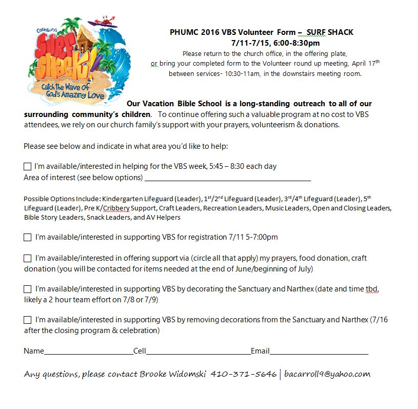 PHUMC Home PHUMC VBS 2016 Volunteer Form \u2013 Perry Hall United