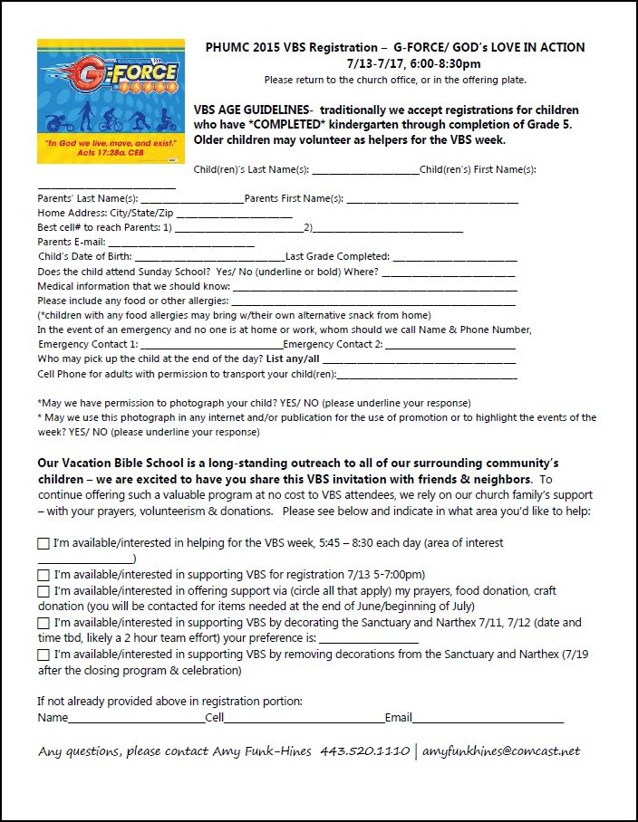 PHUMC Home FINAL PHUMC 2015 VBS Registration and Volunteer form