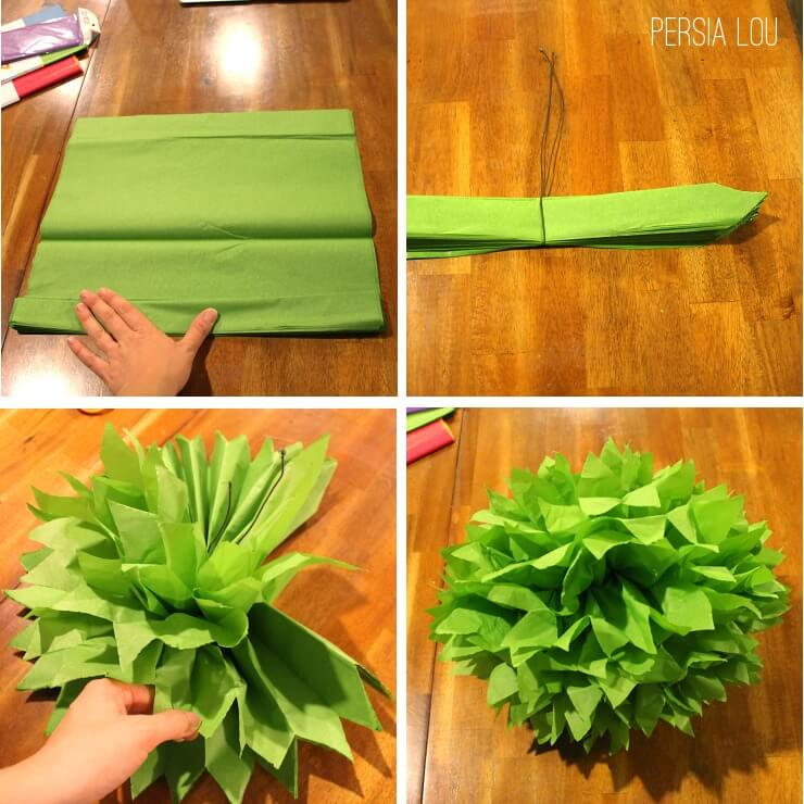 how to make tissue pom pom decorations
