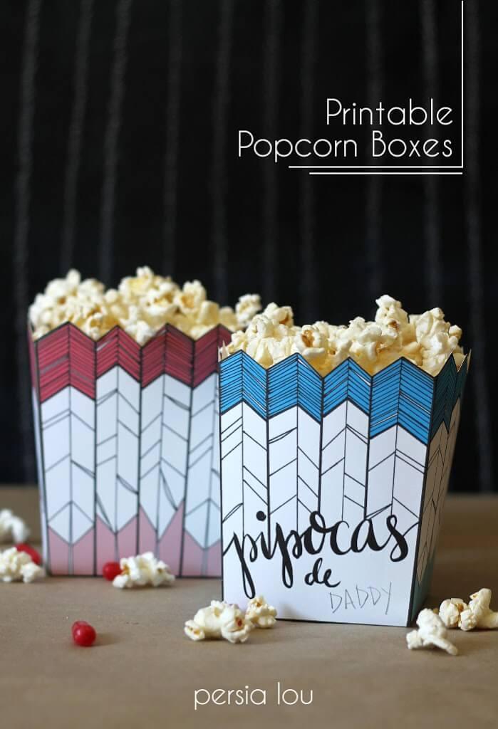 Free Printable Popcorn Box and Brazilian Themed Movie Night - Persia Lou