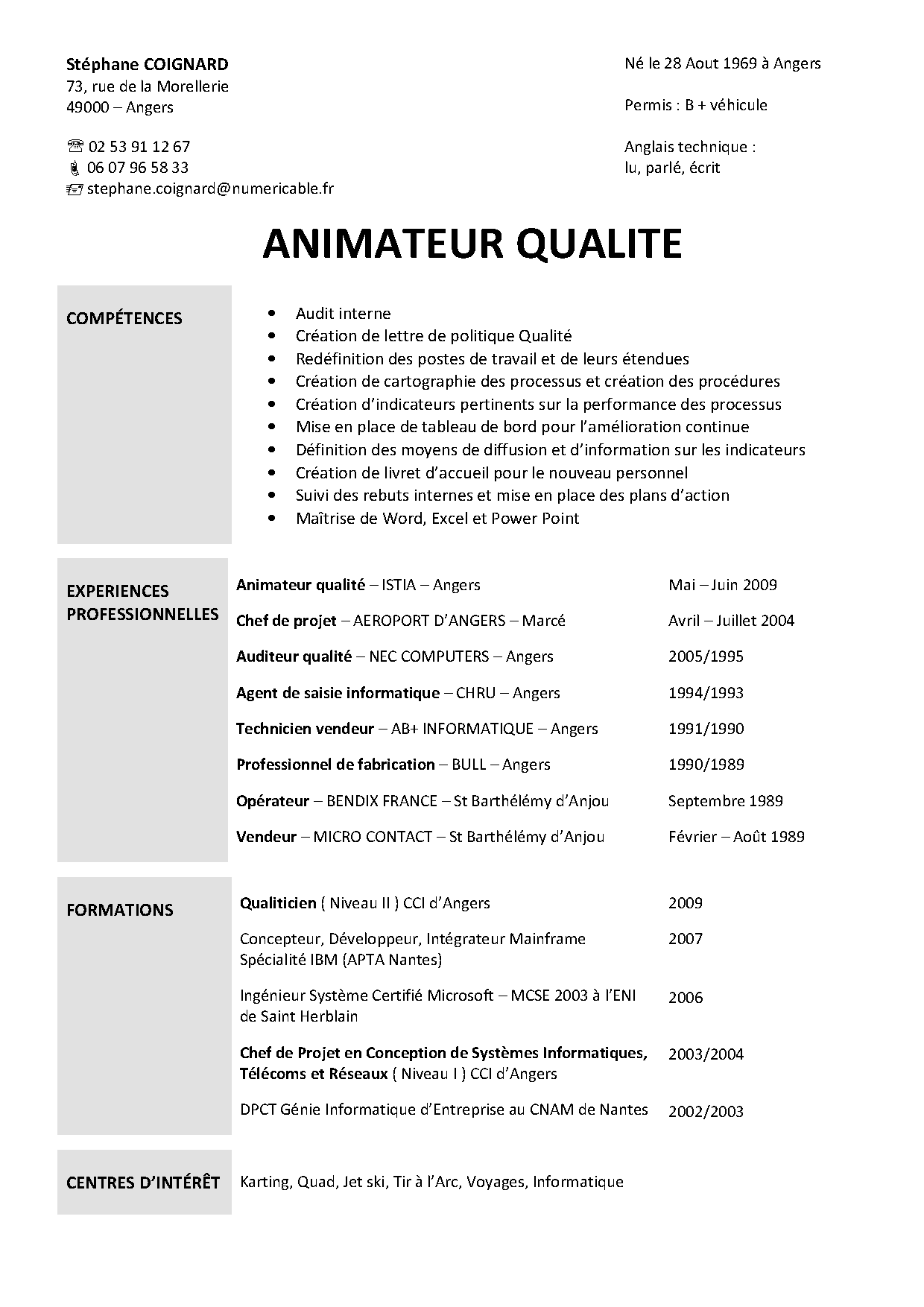 cv qualiticien