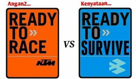 Meme KTM Ready To Race Bajaj Ready To Survive pertamax7.com