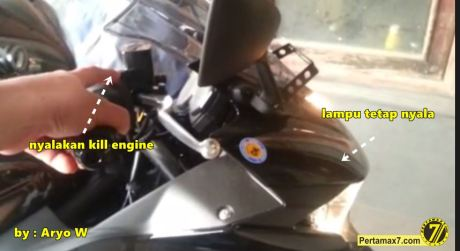 headlamp yamaha R25 tetap nyala saat engine switch off