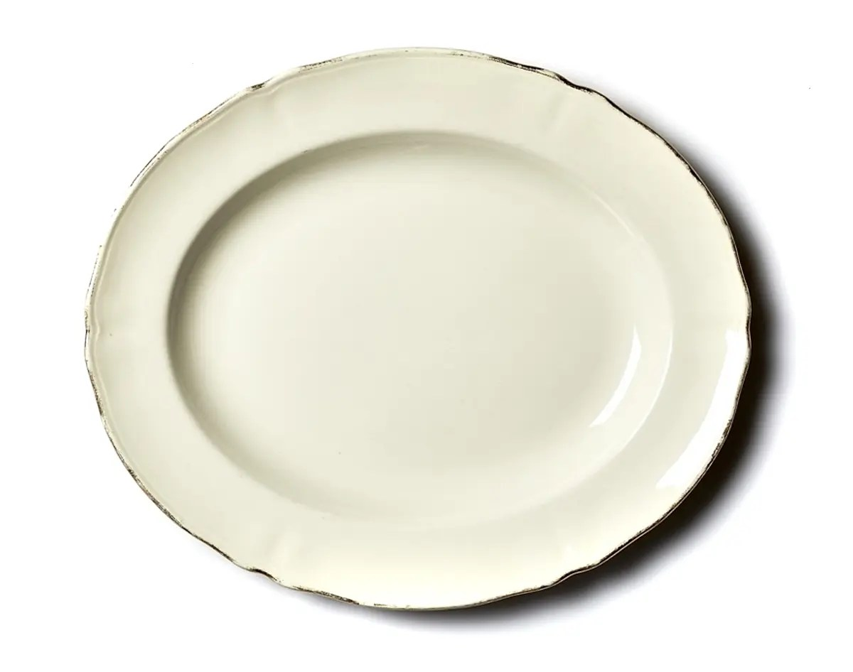 You Plate It Perth Gold Rimmed Cream China Oval Platter 360 X 305 Perth