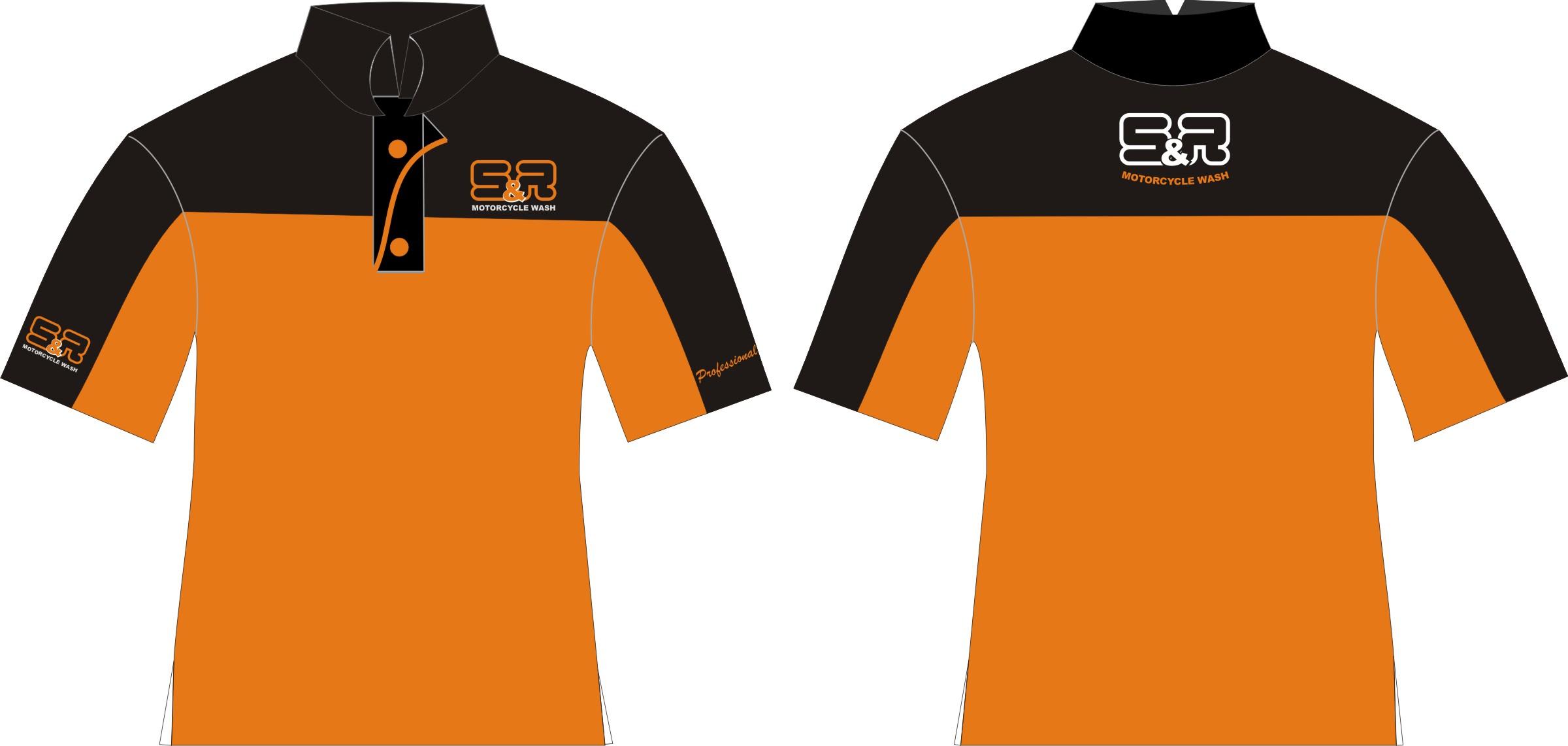 T shirt kerah sporty hitam orange