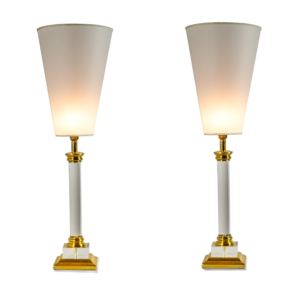 Table Plexiglas Transparent Transparent Plexiglass And Brass Table Lamps Conic Lampshade 1970s