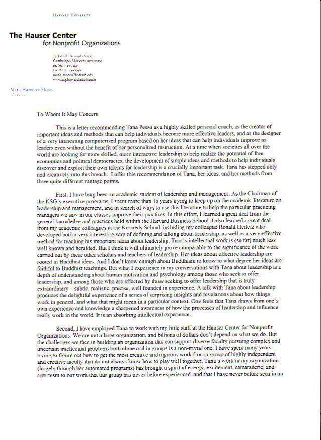 Sample Letter Of Recommendation From Employer Harvard Professor And Faculty Chair Tana Pesso