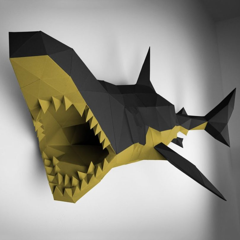 Paper Trophy Black & Gold Xl Shark Papertrophy » Petagadget