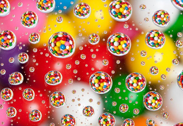 Candies Photographed in Water Drops