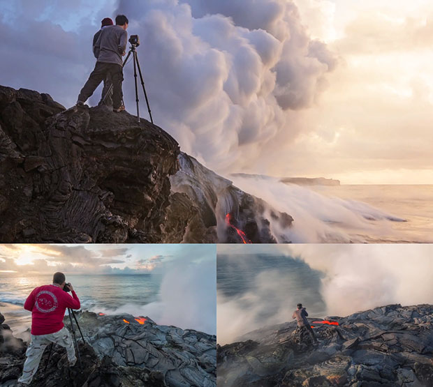 Photographer Gets So Close to Lava That His Shoes and Tripod Melt hawaiimiles