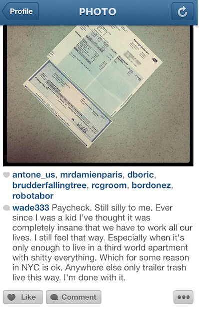 Sales Clerk Fired for Sharing a Picture of His Paycheck on Instagram