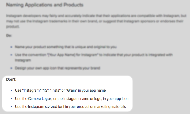 Instagram Brand Policy No Longer Allows Connected Apps to Use Insta or Gram igbrandpolicy