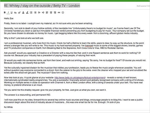 Musician\u0027s Scathing Letter Offers One Way to Respond to Requests for - would 4 free