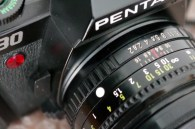 The Pentax P30, 35mm film camera uses manual focus lenses with the K-mount bayonet fitting.