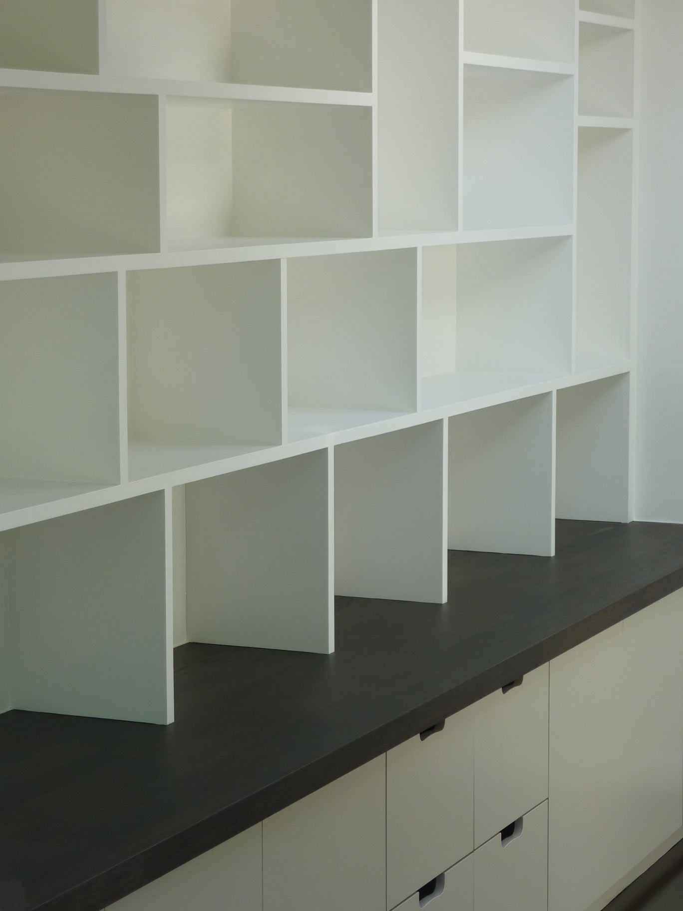 White Bookcase With Doors Fitted Study Cabinetry, Handmade By Peter Henderson