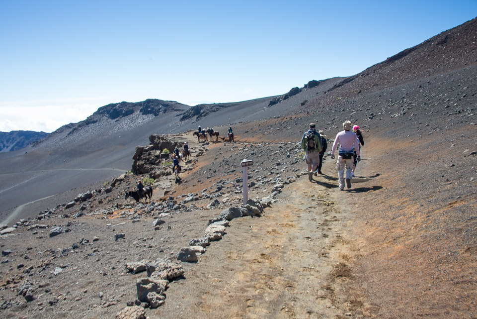 Starting our hike at Haleakala summit.