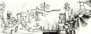 Treople style hand drawn level for platform game