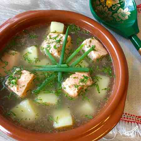 Rustic Russian Fish Soup and Broth made with Salmon and Trout, enjoyed for hundred of years - Authentic Ukha Fish Soup (Уха)