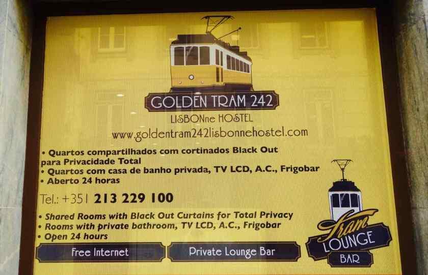 Lissabon Restaurants + Unterkünfte, Hostel Golden Tram 242