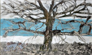 blue tree 2 mm mixed media and resin oncanvas  70cm x100 2009