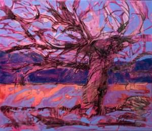red tree purple sky  60 x70cm