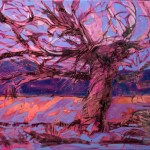red tree purple sky  60 x70cm