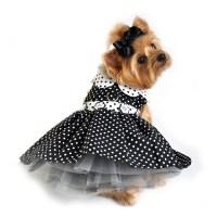 Black and White Polka Dot Dog Dress - Pet Impulse