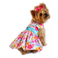 Hot Pink and Turquoise Floral Dog Dress - Pet Impulse