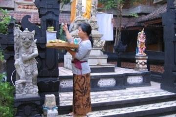 Offrandes du matin dans le jardin de l'hotel Sorga. Kuta, Bali.