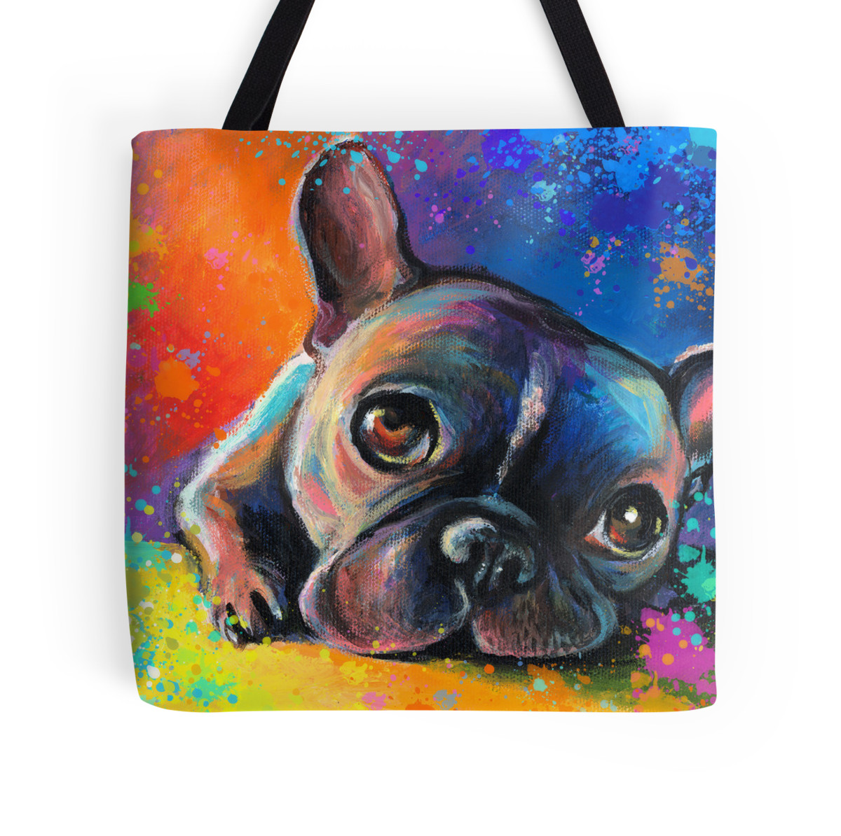 Dog Painting Tote Bags