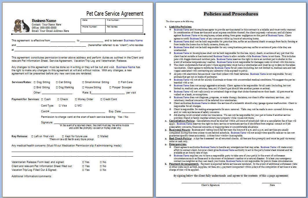 pet sitting contracts template