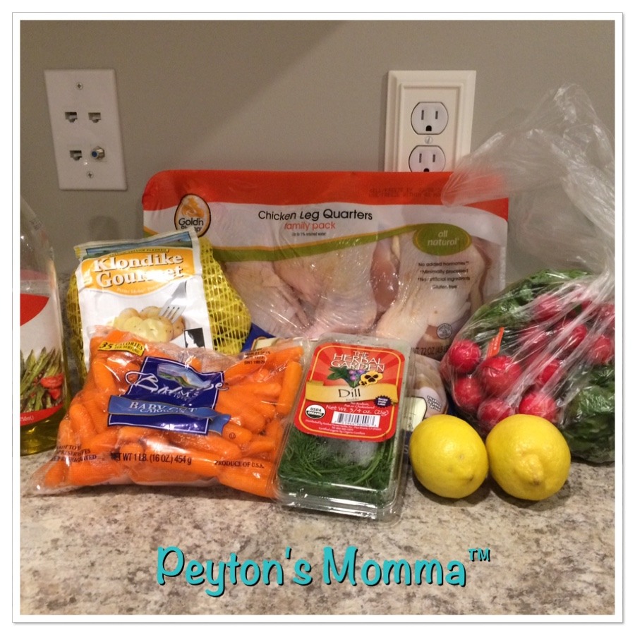 Ingredients for Roast Chicken Quarters with lemon-dill Spring Vegetables