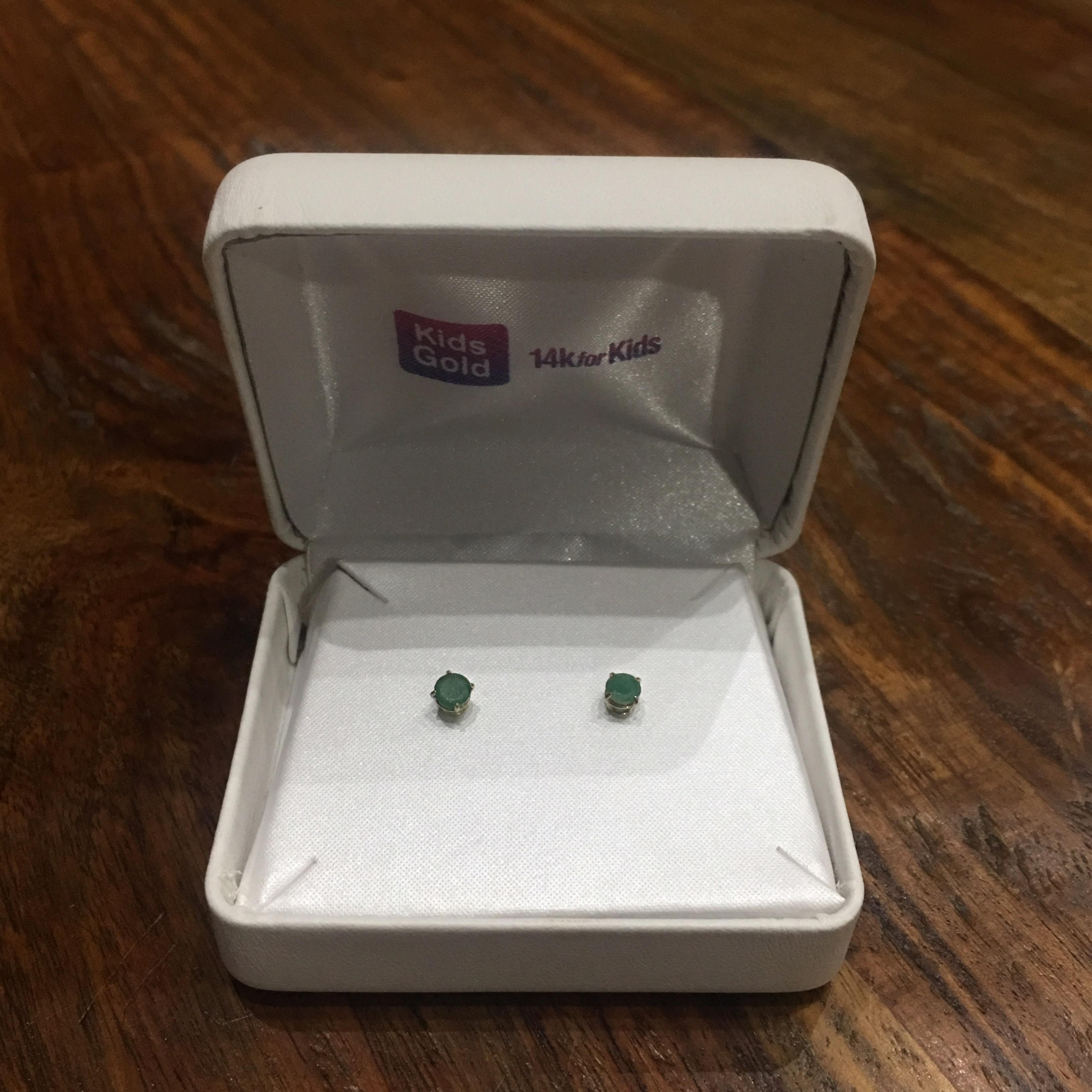 Kids Gold 14k Gold Emerald Earrings