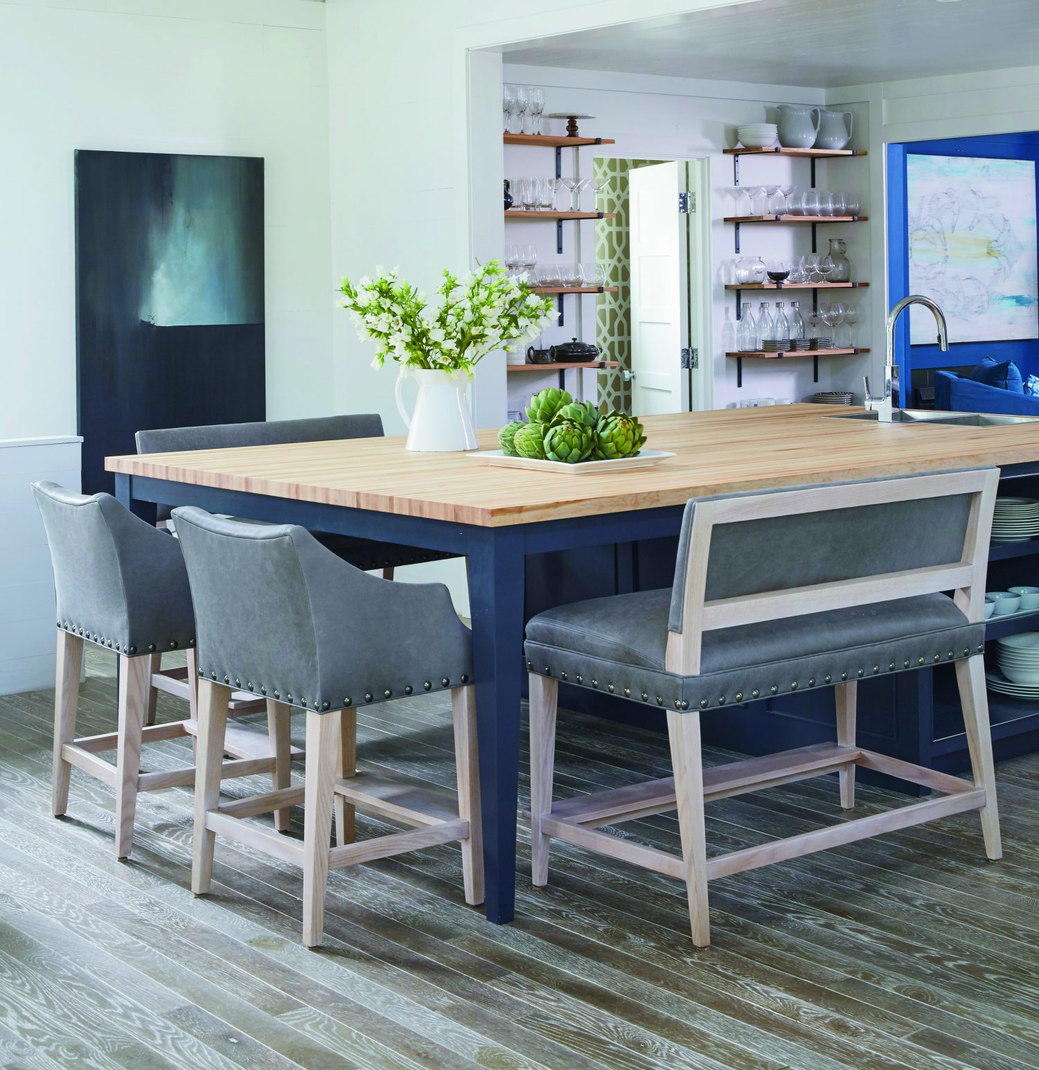Kitchen Counter And Stools Peyton S Place Furniture Campaign Bar Stool Leather Lee Industries