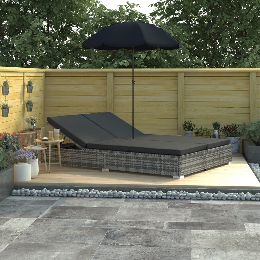 Vidaxl Outdoor Lounge Bed With Umbrella Poly Rattan Gray
