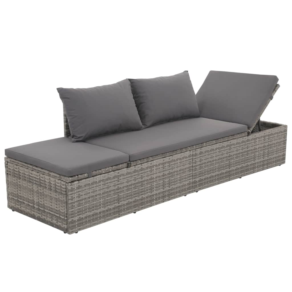 Polyrattan Sofa Details About Outdoor Lounge Bed Poly Rattan Sofa Sun Sofbed With Seat Cushion 2 Back Pillows