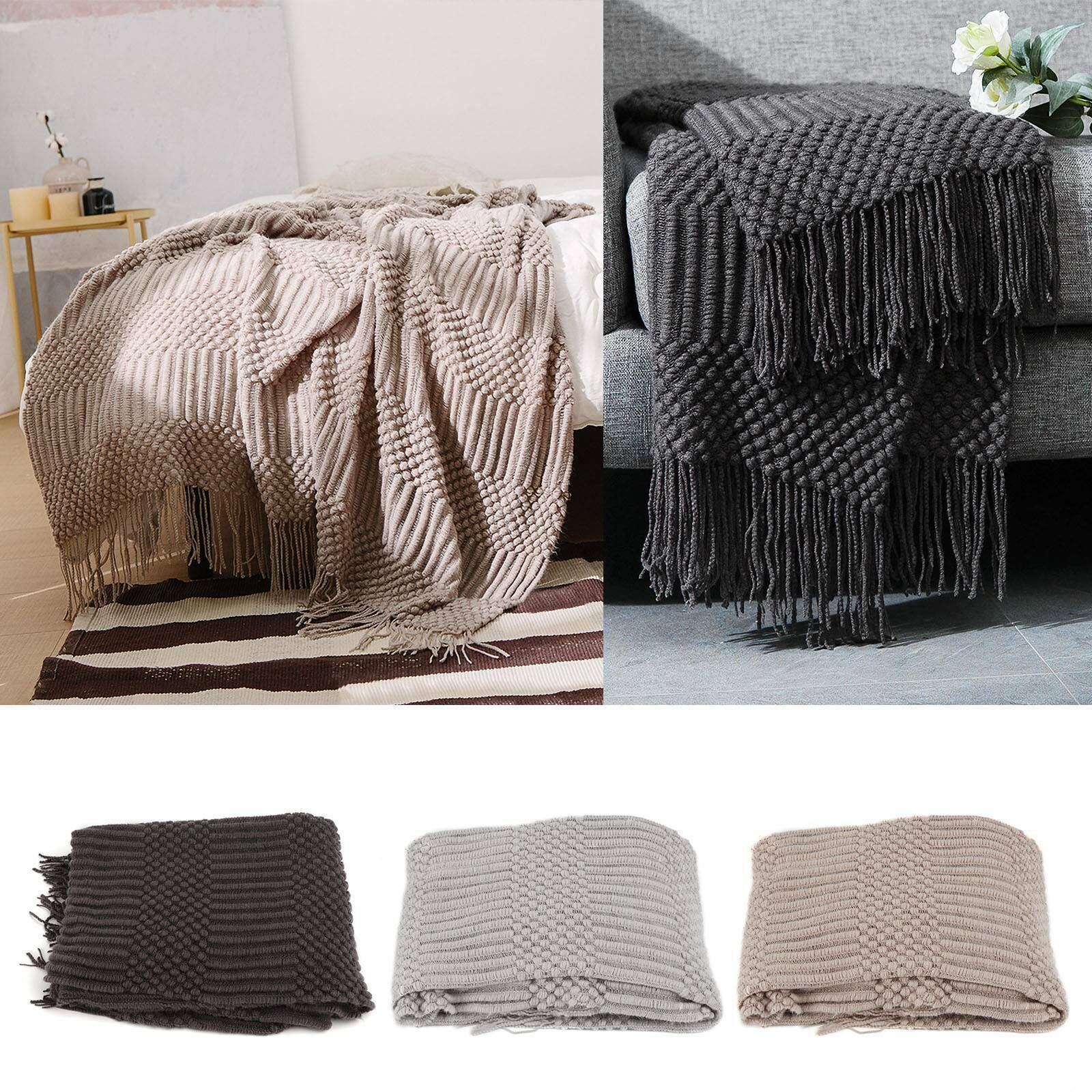 Uk Home Luxury Knitted Blankets Tassel Throws Large Sofa Couch Bed Fringed Cover Ebay